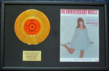 "ANITA HARRIS - 7"" 24 Carat Gold Disc & Song Sheet - ANNIVERSARY WALTZ"
